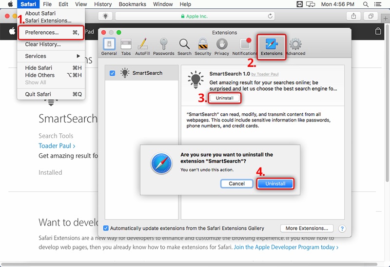 How do I uninstall Safari extensions in OS X